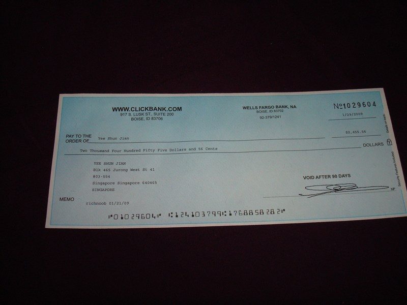 US$2,455.56 cheque from Clickbank (Jan 2009)