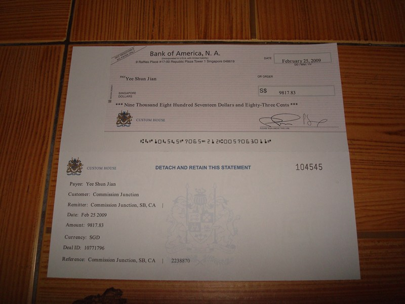 S$9,817.83 cheque from Commission Junction (Feb 2009)