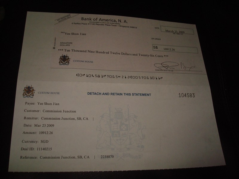 S$10,912.26 cheque from Commission Junction (Mar 2009)