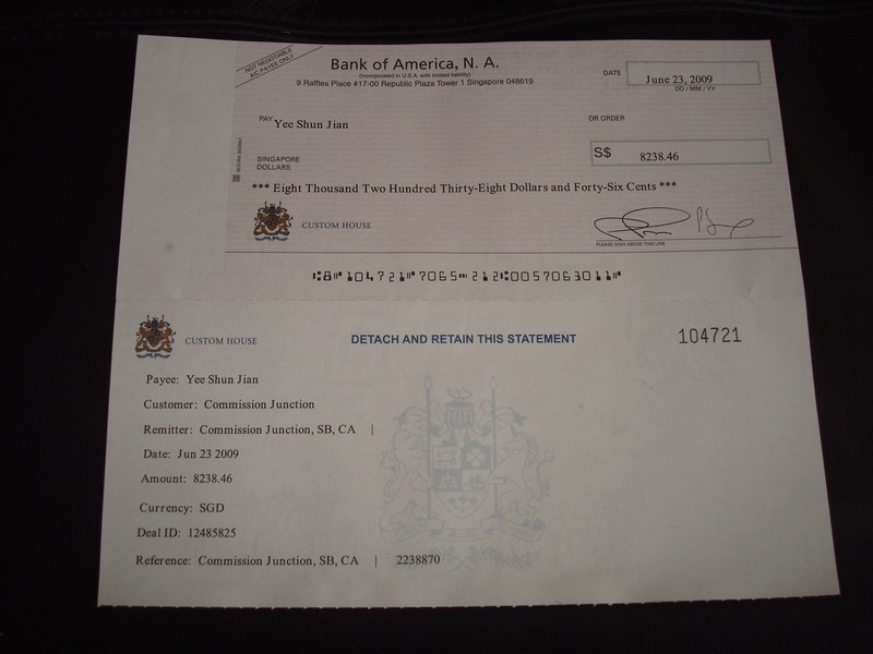 S$8,238.46 cheque from Commission Junction (Jun 2009)