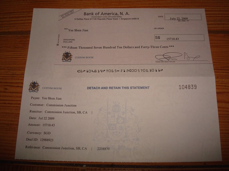 S$15,710.43 cheque from Commission Junction (Jul 2009)