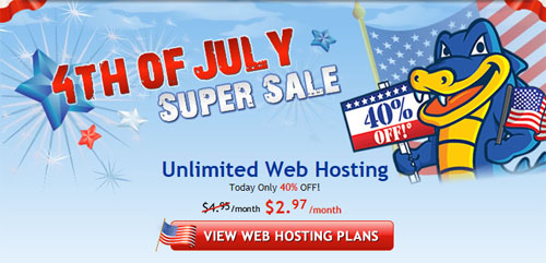 Hostgator 4th of July Super Sale 40% Off